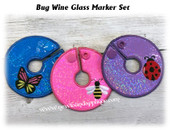 In The Hoop Bug Wine Glass Marker Embroidery Machine Design Set
