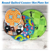 In The Hoop Quilted Round Coaster/Hotplate  with Satin Stitch Embroidery Machine Design Set