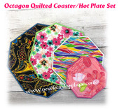 In The Hoop Quilted Octagon Coaster/Hotplate  with Satin Stitch Embroidery Machine Design Set