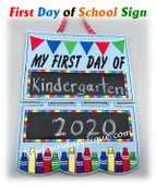 "In The Hoop ""First Day Back To School"" Sign Embroidery Machine design"