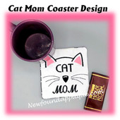 In The Hoop Cat Mom Coaster Embroidery Machine Design