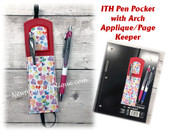 In The Hoop Pen Pocket Book Mark w Arch Applique Embroidery Machine Design