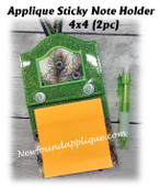 In The Hoop Applique Sticky Note Holder 4x4 Embroidery Machine Design