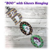 In The Hoop BOO with Ghosts Wall Hanging Embroidery Machine Design
