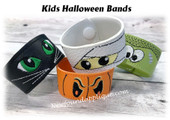 In The Hoop Halloween Wrist Band Embroidery Machine Design Set for Kids
