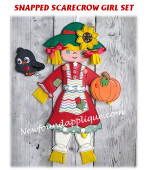 In The Hoop Snapped Scarecrow Girl Embroidery Machine Design