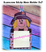 In The Hoop Scarecrow Sticky Note Holder Embroidery Machine Design