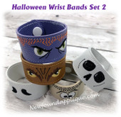 In The Hoop Halloween Wrist Band Embroidery Machine Design Set 2