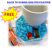 In The Hoop Back To School Quilted Coaster with Satin Edge Embroidery Machine Design