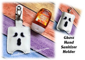 In The Hoop Ghost Hand Sanitizer Holder Embroidery Machine Design