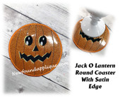 In The Hoop Jack O Lantern Round Coaster Embroider Machine Design