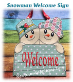 In The Hoop Snowman Welcome Sign Embroidery Machine Design