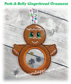 In The Hoop Peek A Belly Gingerbread Ornament Embroidery Machine Design