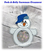 In The Hoop Peek A Belly Snowman Ornament Embroidery Machine Design