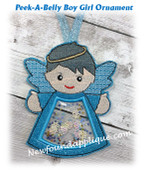 In The Hoop Peek A Belly Angel Boy Ornament Embroidery Machine Design