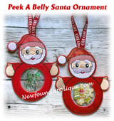 In The Hoop Peek A Belly Santa Ornament Embroidery Machine Design
