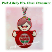 In The Hoop Peek A Belly Mrs Clause Ornament Embroidery Machine Design