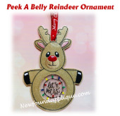 In The Hoop Peek A Belly Reindeer Ornament Embroidery Machine Design