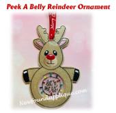 In The Hoop Peek A Belly Reindeer Ornament Embroidery Machine Design