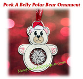 In The Hoop Peek A Belly  Polar Bear Ornament Embroidery Machine Design