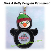 In The Hoop Peek A Belly Penguin Ornament Embroidery Machine Design