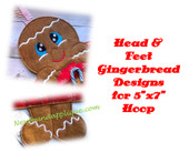 "In the Hoop Gingerbread 5""x7"" Head & Feet Embroidery Machine Designs"