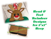 "In the Hoop Reindeer 5""x7"" Head & Feet Embroidery Machine Designs"