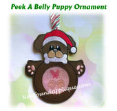 In The Hoop Peek A Belly Puppy Ornament Embroidery Machine Design