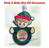 In The Hoop Peek A Belly Elf Boy Ornament Embroidery Machine Design