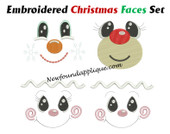 In The Hoop Embroidered Christmas Faces Embroidery Machine Design Set