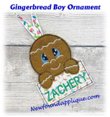 In The Hoop Gingerbread Boy Name Ornament Embroidery Machine Design