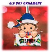 In The Hoop Elf Boy Name Ornament Embroidery Machine Design