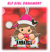 In The Hoop Elf Girl Name Ornament Embroidery Machine Design