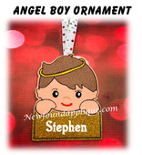 In The Hoop Angel Boy Name Ornament Embroidery Machine Design