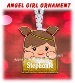 In The Hoop Angel Girl Name Ornament Embroidery Machine Design