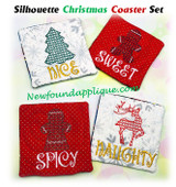 In The Hoop Christmas Silhouette Coaster Embroidery Machine Design Set