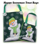 In The Hoop Happy Snowman Treat Bag Embroidery Machine Design Set