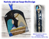This is the listing for the Nativity Snap On Add On Decoration only. The Welcome panels are sold in a separate listing as a starter set with the Snowman snap on.