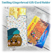 In The Hoop Smiling Gingerbread Gift  Card Holder Embroidery Machine Design