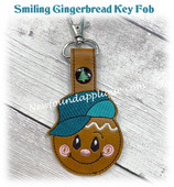In The Hoop Smiling Gingerbread Key fob Embroidery Machine Design