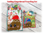 In The Hoop Smiling Gingerbread Treat Bag Embroidery Machine Design Set