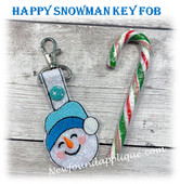 In the Hoop Happy Snowman Key Fob Embroidery Machine Design