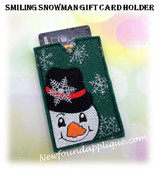 In The Hoop Smiling Snowman Gift Card Holder Embroidery Machine design