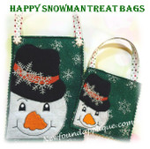 In The Hoop Smilig Snowman Treat Bag Embroidery Machine Design Set