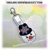 In The Hoop Smiling Snowman Key fob Embroidery Machine Design
