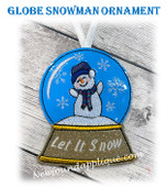 In The Hoop Globe Snowman Ornament Embroidery Machine Design