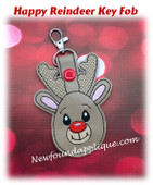 In The Hoop Happy Reindeer Key Fob Embroidery Machine Design