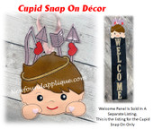 This is the listing for the Cupid Snap On Only.   The Welcome Sign with Snowman Peeker is sold in a separate listing as the starter set.