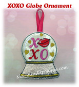In The Hoop XOXO Globe Ornament Embroidery Machine Design