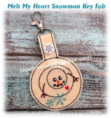 In The Hoop Melt My Heart Snowman Key Fob Embroidery Machine Design